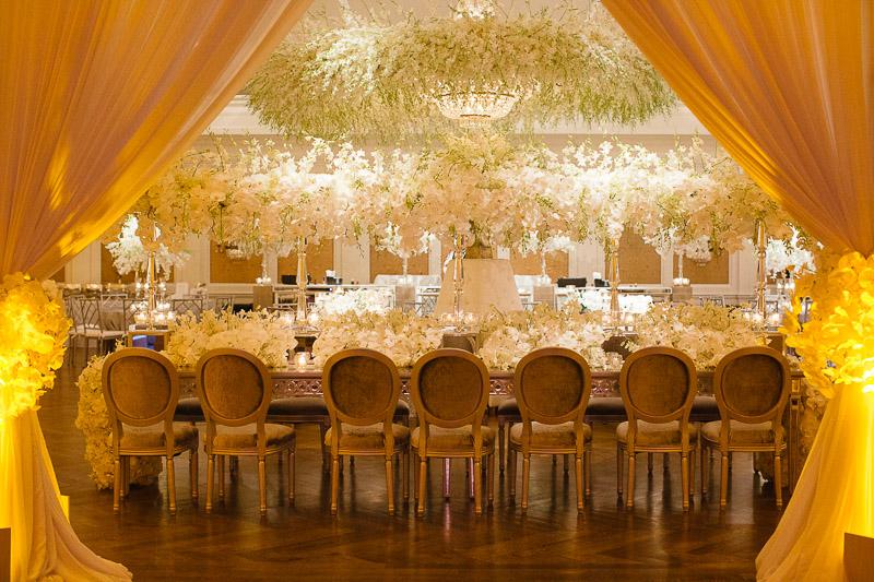 Opulant wedding reception decor River Oaks Country Club, Houston, Texas