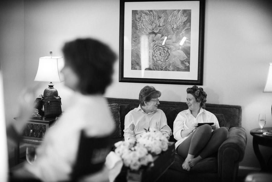 Kristin and her mother at Westin Riverwalk - wedding preperation