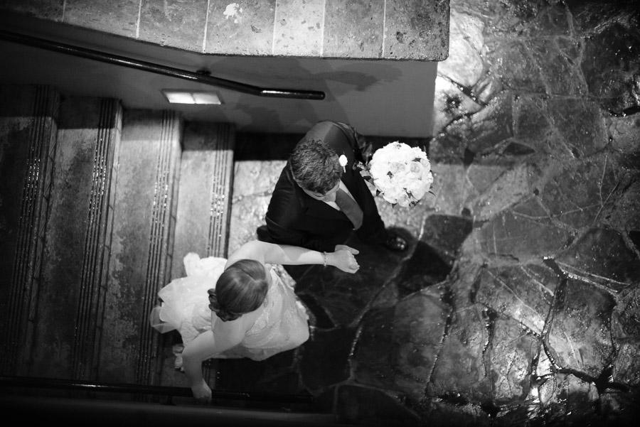 Little church of La Villita Wedding brides walks down steps