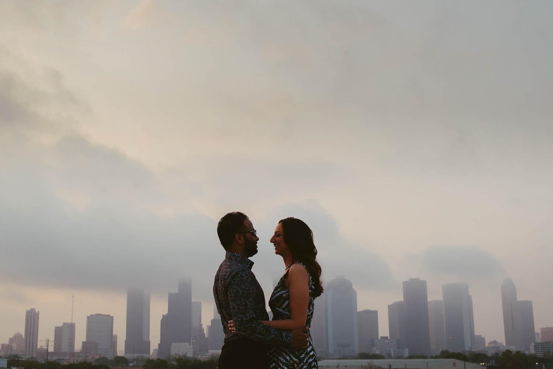 Early sunrise light on rooftop with Houston skyline The Astorian Texas
