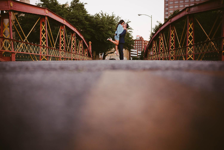 This lenticular pony truss bridge crosses the San Antonio River in downtown San Antonio, Texas.