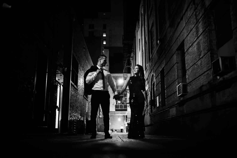 Couple in alleyway Downtown San Antonio Engagement photos-14