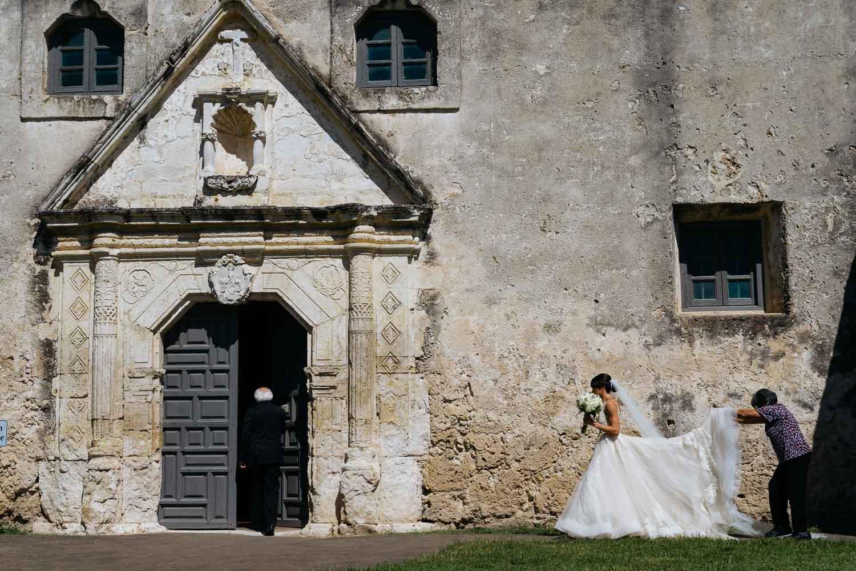 Bride walks toward Mission Concepcion Wedding