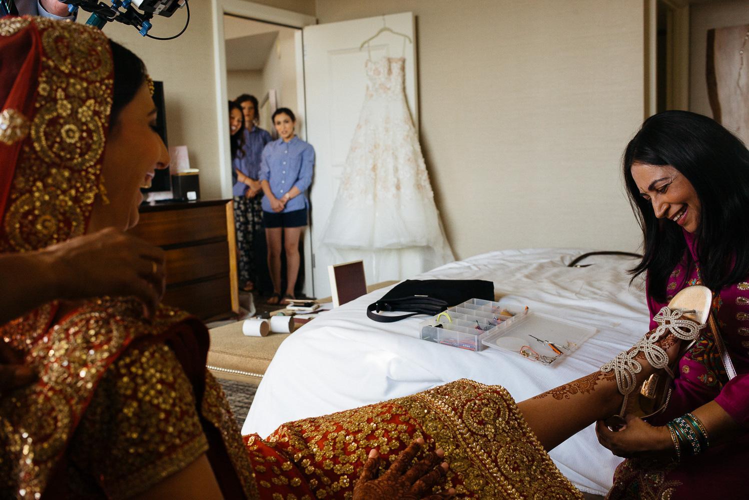 Bridesmaids react to Hindu bride Hindu Jewish fusion wedding Sugar Land Marriott Hotel Texas-024