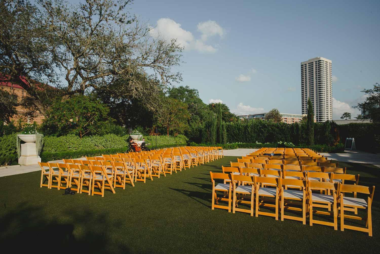 Detail shot of ceremony layout at Cherie Flores Garden Pavilion Wedding Hermann Park Houston Texas-Philip Thomas