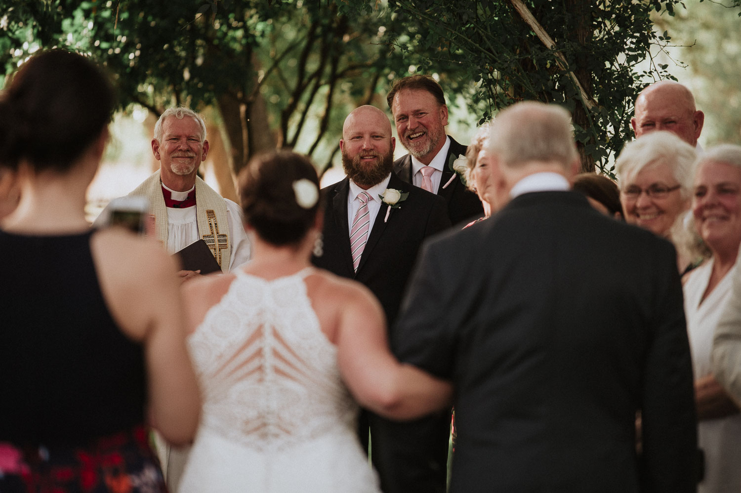 Grooms reaction as he sees his bride for the first time
