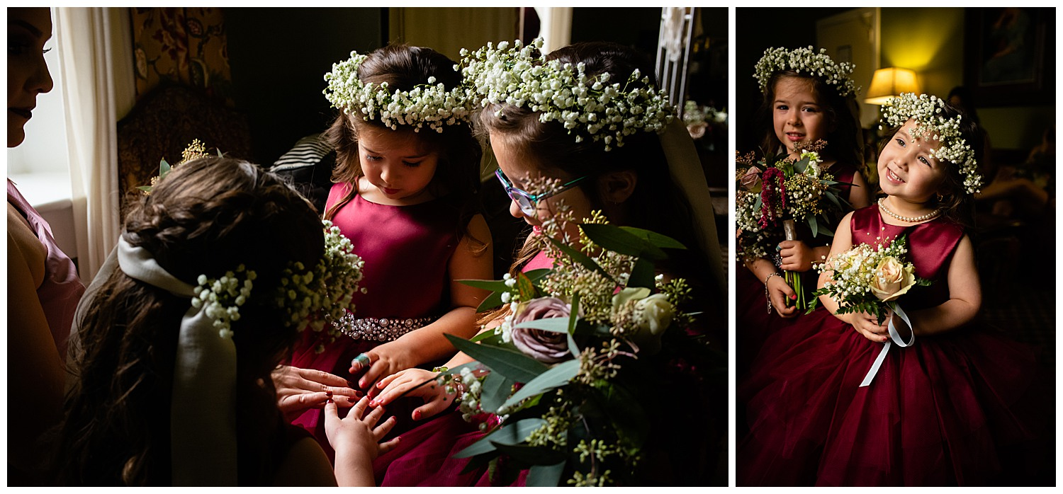 Flower girls gather comparing hands at the Menger Hotel Wedding Ceremony San Antonio Reception Grand BallroomSan Antonio -Leica photographer-Philip Thomas Photography