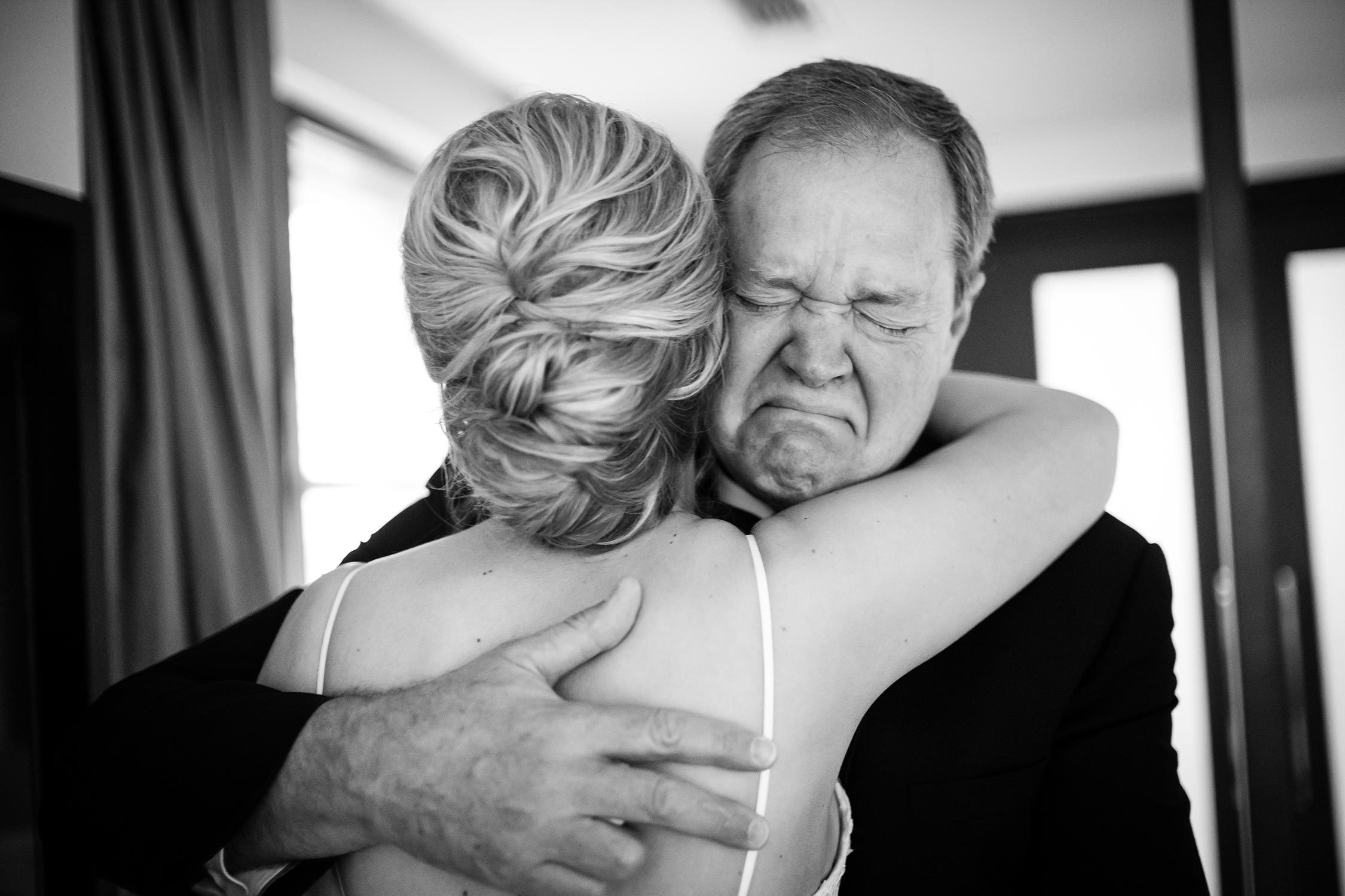 Wedding photojournalism - Father of the brides gets emotional The JW Marriott Downtown Houston bride and groom get ready -Philip Thomas Photography