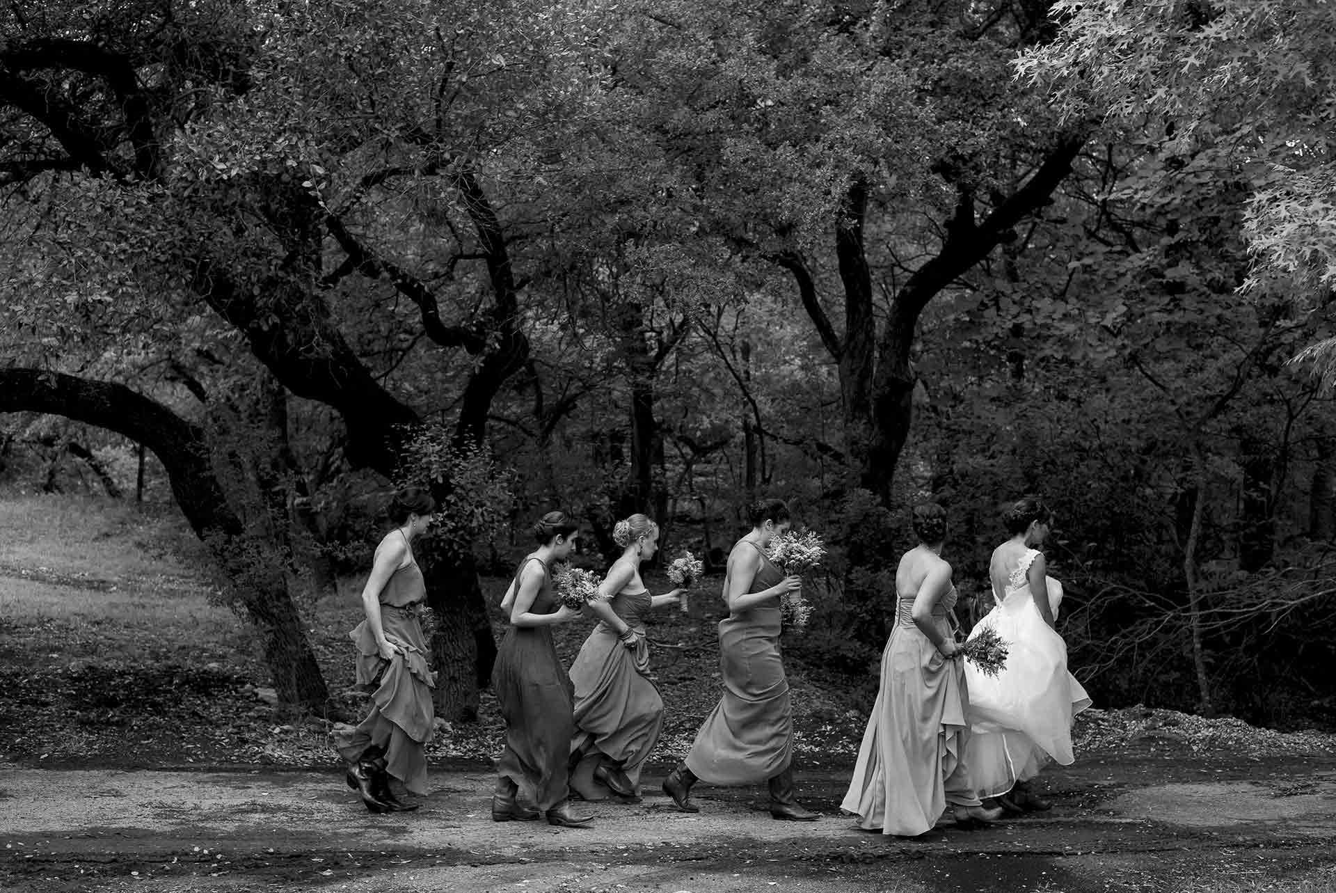 Bridesmaids and bride walk ceremony